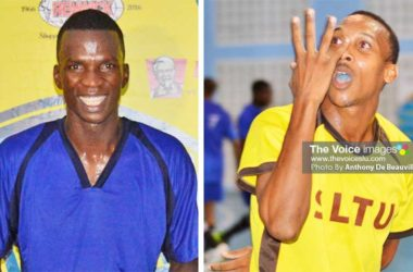 Image: (L-R) Ferguson St.Clair (Sandals La Toc) led the charge with four hat-tricks, he also top the goal scoring chat with 13; Lynch Isidore (SLTU) close on his heels with 10 goals. (PHOTO: Anthony De Beauville)