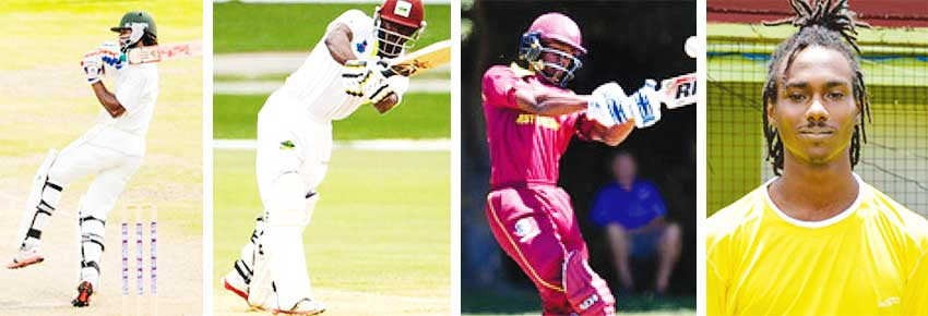Image: (L-R) Kirt Edwards (captain), Devon Smith (unavailable), AlickAthanaze (newcomer), Tarryck Gabriel (Saint Lucia top order batsman) (WICB Media. PHOTO/Randy Brooks/Anthony De Beauville)