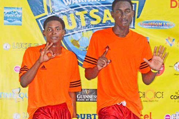 Image: (l-r) Sandals Grande hat trick scorers against Beachcomber, Louinus George and Ted Lawrence