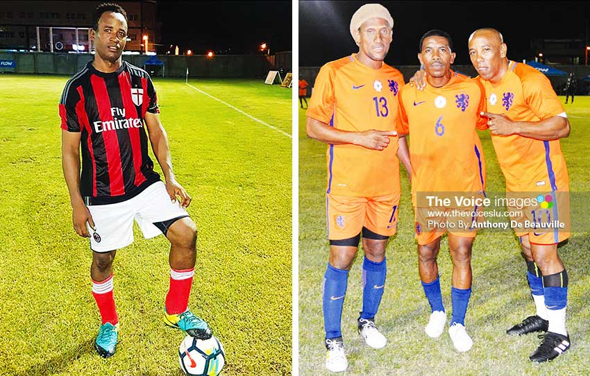Image: (L-R) Mervin St. Croix scored a hattrick for Anse la Raye, the first in the tournament; Titus Elva, Elijah Joseph and Earl Jean the trio played for Era Masters .(PHOTO: Anthony De Beauville)