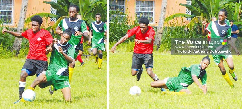 Image: Some of the action between Northern United Youth and Reduit FC on Sunday. (PHOTO: Anthony De Beauville)