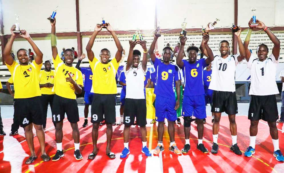 Image: Saint Lucia had winners in Joseph Clercent as the leading Outside Hitter with 60 spikes. Tervin St. Jean took home 2 awards - best server where he had 14 aces and for Best Blocker (Photo: ECVA)
