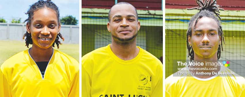 Image: (L-R) National female cricketer Zaida James will join the Elite cricket programme; Saint Lucians Audy Alexander and Tarryck Gabriel are expected to be part of the Windwards squad. (PHOTO: Anthony De Beauville).