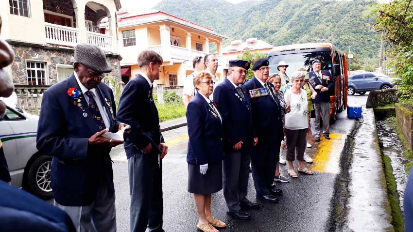 Image: Ex-servicemen earlier this week laid a wreath at the DuBoulay Shrine in Soufriere to honour all who fell and all who survived.