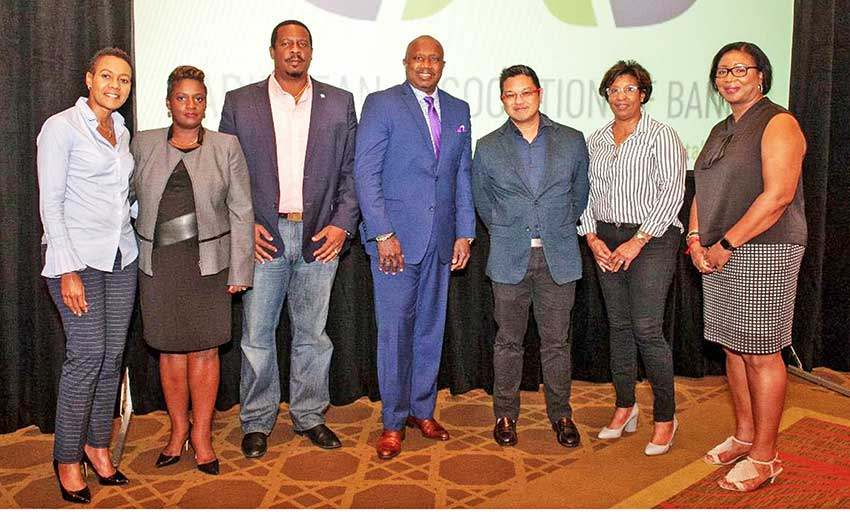 Image: 1st National MD Johnathan Johannes (3rd from left) with other members of the new CAB BoD following their election in The Bahamas at the recent 45th CAB AGM. Also in photo (from left to right) are: Joanna Charles, Wendy Delmar, Dalton Lee, Brian Woo, Moya Leiba-Barnes and Evelyn Wayne. (PHOTO Courtesy: CAB)