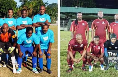 Image: (L-R) Flow Lancers FC have advanced to the Caribbean Alliance Gold Cup quarterfinal round; last year's finalists Gros Islet Veterans will play Micoud Veterans on Sunday. ( PHOTO: Anthony De Beauville)