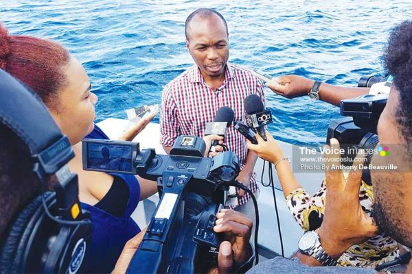 Image: Tourism Minister, Dominic Fedee answering questions from the media. (PHOTO: Anthony De Beauville)
