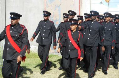 Image: The new Vieux-Fort fire-fighters on parade, ready to serve the entire South of the island. (PHOTO: Kingsley Emmanuel)