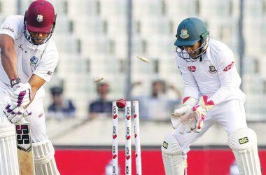 Image: West Indies batsman Kieran Powell loses his off stump. (PHOTO: AFP)