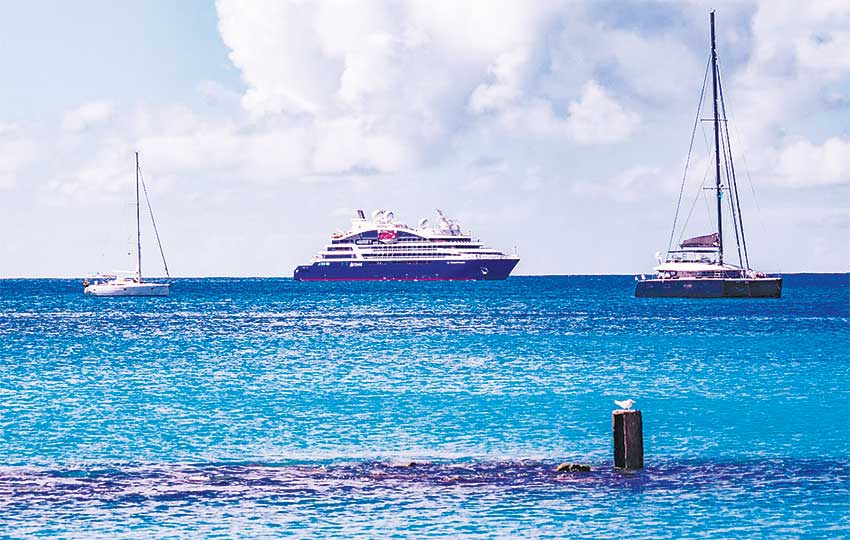 Image of Le Champlain making its maiden voyage to Saint Lucia.