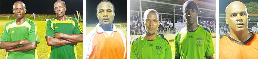 Image: (L-R) Goal scorers for the winning teams at the weekend Pilgrim James, Darrel Wiggins (Prophets and Kings), Wayne Theodore (Vieux Fort North), Leo James, Claudius Monnerville (All Blacks -Dennery) and Donald Thommy (Laborie). (PHOTO: Anthony De Beauville)