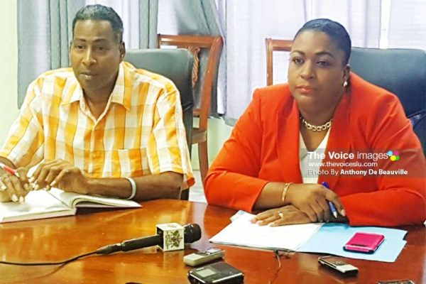 (L-R) Ministry of Youth Development and Sports Information Assistant Ryan O'Brian and Deputy Permanent Secretary Liota Charlemange-Mason at Thursday morning's press conference. (PHOTO: Anthony De Beauville)