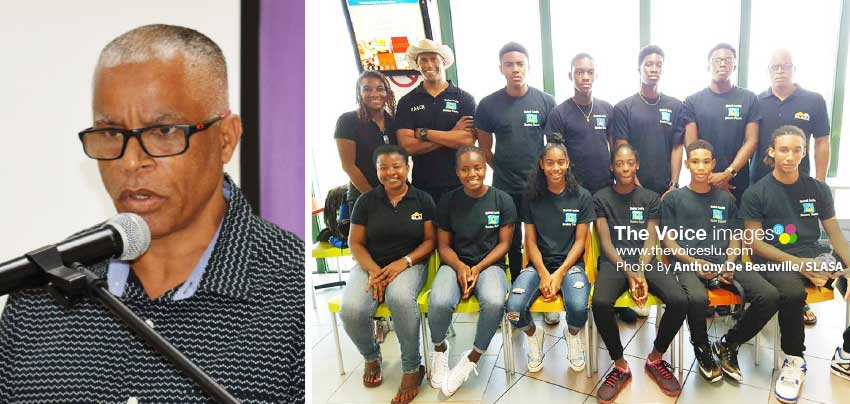 Image: SLASA President, Eddie Hazel; Saint Lucia CARIFTA team for 2018. (Photo: Anthony De Beauville/ SLASA)