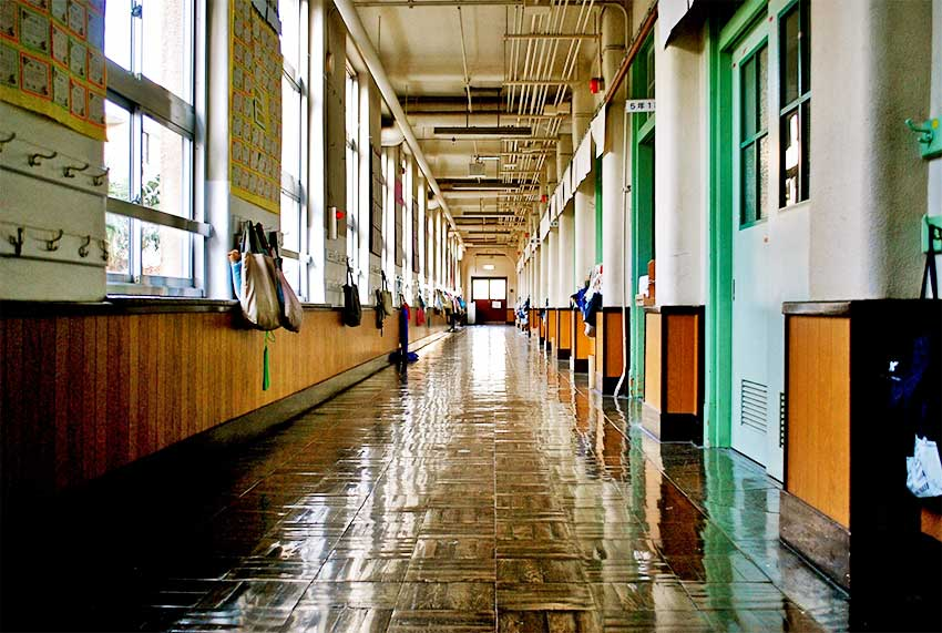 image of a school hallway
