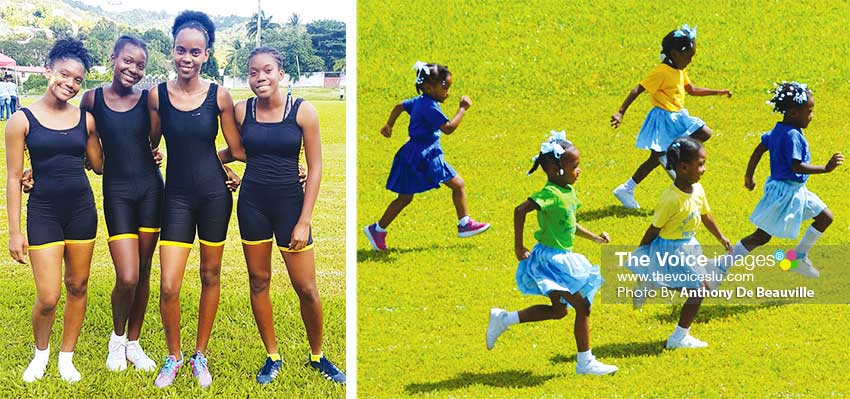 Image: (L-R) St. Theresa House quartet of Melanie Payne, Darnell Leon, LynelleDupal and Aviona Edmund winners of Division 2, 4x100 metres relay; SJC Pre Schoolers, future Olympians in the making certainly kept the officials busy . (PHOTO: Anthony De Beauville)