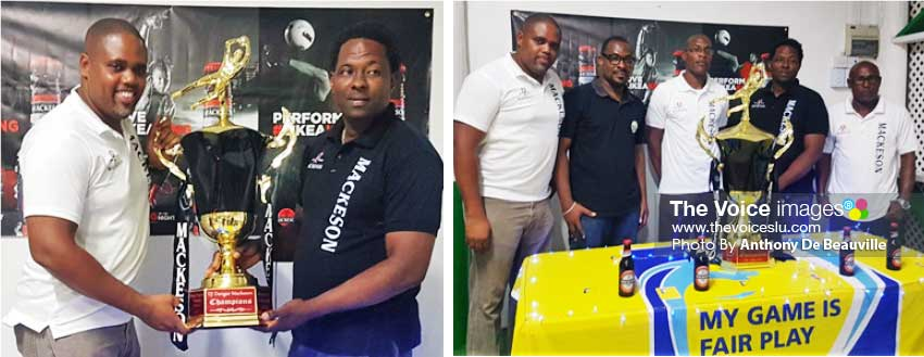 Image: (L-R) Mackeson Brand Manager, Ed Mathurin and Tournament Organizer, DJ Dongar Mc Donald; photo moment for the people behind the scene, Ed Mathurin, Kendal Emmanuel, James Prosper, DJ Dongar Mc Donald and Hendricks Constable. (Photo: Anthony De Beauville)