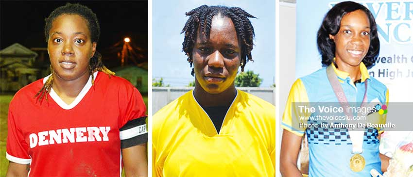 Image: (L-R)Ellisha Marquis (Football), Qiana Joseph (Cricket) and Levern Spencer (Athletics). (PHOTO: Anthony De Beauville)