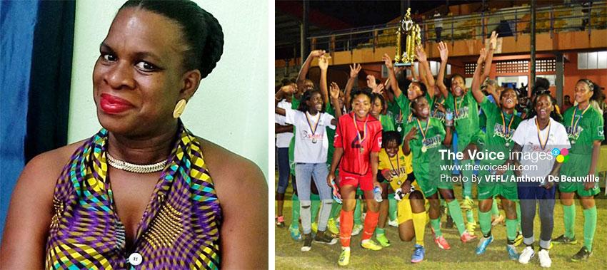 Image: Jeffa Belasse (now deceased) a pioneer in women football in Vieux Fort; VFS women wins SLFA Under- 17 tournament under Jeffa's watch. (PHOTO: VFFL/ Anthony De Beauville)