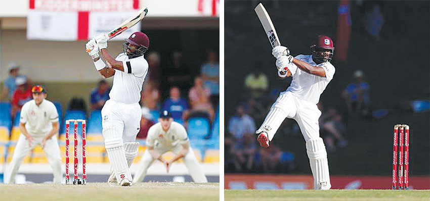 Image: (L-R) West Indies' John Campbell hits the runs to win the test; Darren Bravo in action. (PHOTO: Reuters/Paul Childs)
