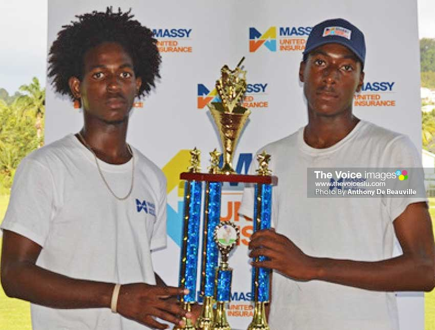 Image: (L-R) Joint champions for 2018 as the two captains Sir Arthur Lewis Community College and Entrepot Secondary share the special moment. (PHOTO: Anthony De Beauville)