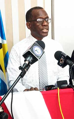 Image of Opposition Leader Phillip J Pierre at Wednesday's Press Conference.