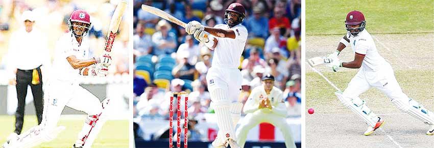 Image: (L-R) West Indies openers Kraigg Brathwaite and John Campbell; top middle order batsman Darren Bravo.