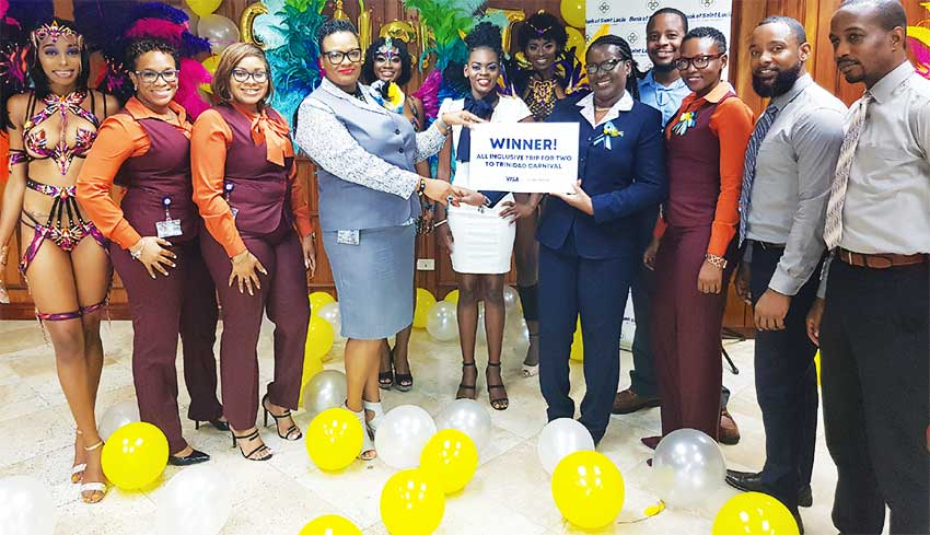 Image: Bank of Saint Lucia's lucky carnival winner recently returned to Saint Lucia from Trinidad.