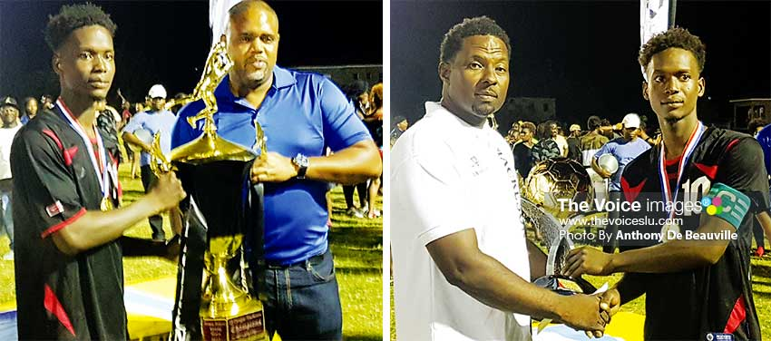Image: (L-R) Captain of Piton Travel All Stars captain No.10 Kerim Gilbert receiving the DJ Dongar Mackeson championship trophies from Mackeson Bradn Manager, Ed Mathurin and Tournament organizer DJ Dongar Mc Donald. (PHOTO: Anthony De Beauville)