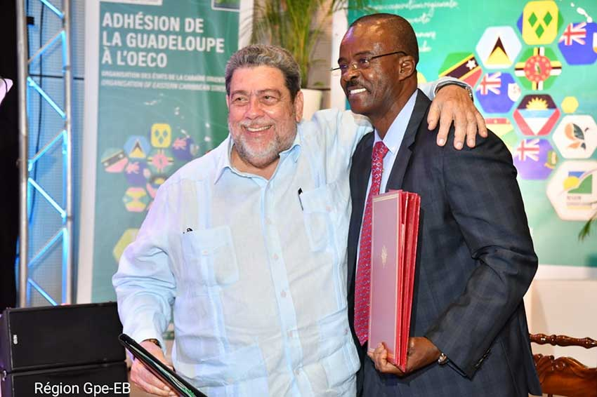 Image: Chairman of the OECS and Prime Minister of Saint Vincent and the Grenadines the Hon. Ralph Gonsalves and the President of the Regional Council of Guadeloupe Ary Chalus.
