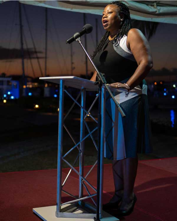 img: Brenda Barbour-Charles, Go to Market Manager and the conceptualiser of d'Concierge addressing the gathering at Wednesday's launch.