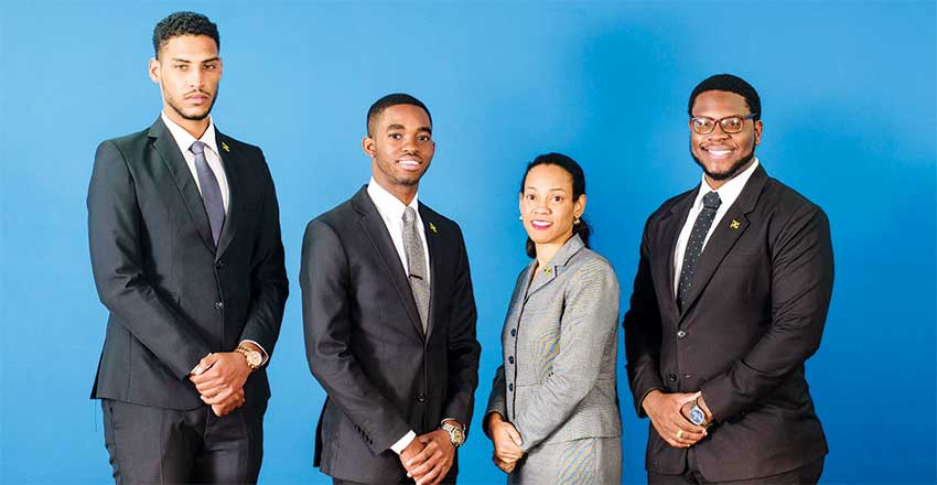 Image: The Norman Manley Law School bested seven other law faculties and schools from across the region to win the 10th Annual Caribbean Court of Justice (CCJ) Law Moot Competition in 2018 at the CCJ headquarters in Trinidad and Tobago. The winning team comprised: Mr. Luke Cook, Mr. Jovan Bowes, Mr. Samuel Bailey, and their advisor, Ms. Tara Carnegie.