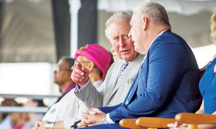 Image of Prime Minister Allen Chastanet and Prince Charles at welcome ceremony – the Prince also paid a visit to the Coconut Bay Resort in Vieux Fort for a special reception.