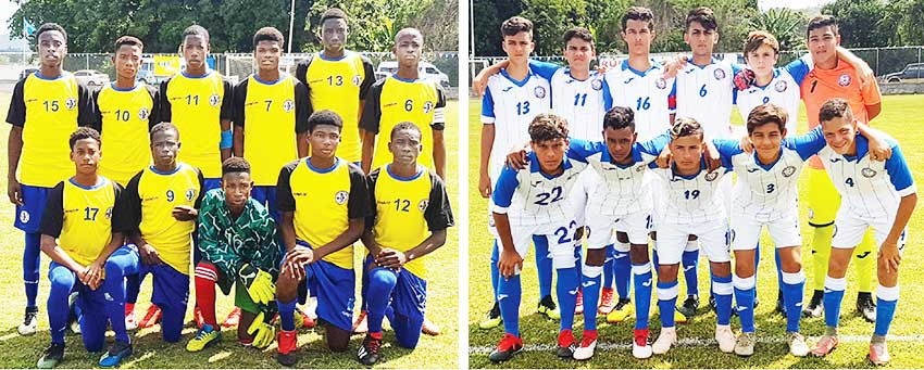 Image: (L-R) Saint Lucia and Puerto Rico National Under -15 teams starting eleven in Thursday International friendly at the Sab Sporting Facility. (Photo: Anthony De Beauville)