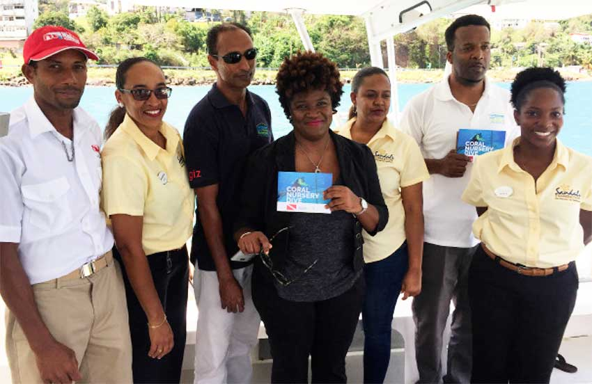 Image: The Sandals crew on inaugural trip for the coral nursery initiative.