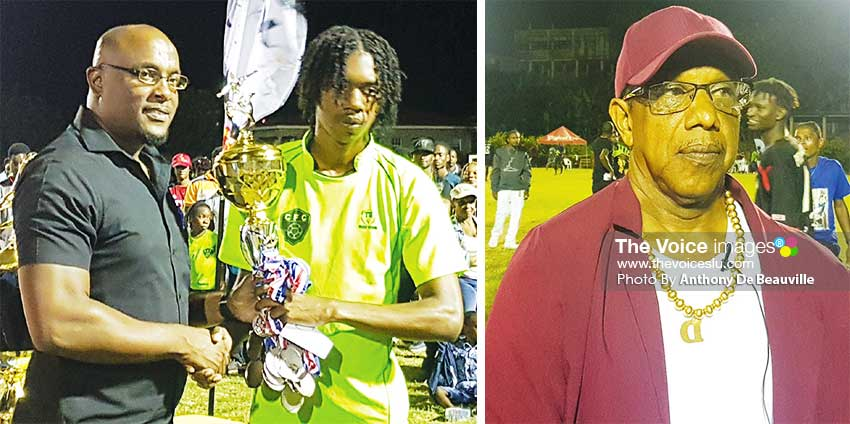 Image: (L-R) Parliamentary Representative for Dennery South, Shawn Edward presenting the third place trophy to Chesters FC captain; the winning coach, Camillus Mathurin (Piton Travel All Stars). (PHOTO: Anthony De Beauville)