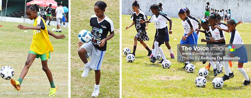 Image: Aspiring young female footballers exhibiting their individual skills. (PHOTO: Anthony De Beauville)