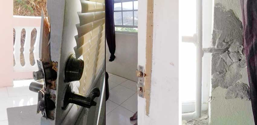 Image: (L-R) Damaged door where the thieves made their entry; Attempts to take down the burglar bars. (PHOTO: SD)
