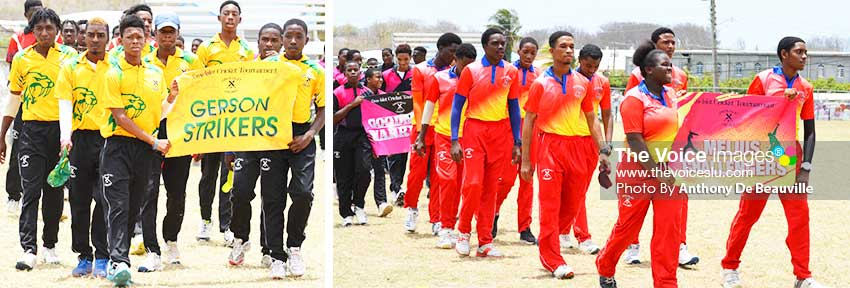 Image: (L-R) 2018 defending champions, Gerson Strikers; 2019 Cricket O Rama winners, Melius Challengers during the march past of teams on Saturday. (PHOTO: Anthony De Beauville)