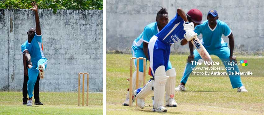 Image: (L-R) Fast bowler Margaran Shoulette (Mabouya Valley) picked up 3 for 28 versus Central Castries; AckeemAuguste (Central Castries) scored an entertaining 32 in quick time. (PHOTO: Anthony De Beauville)