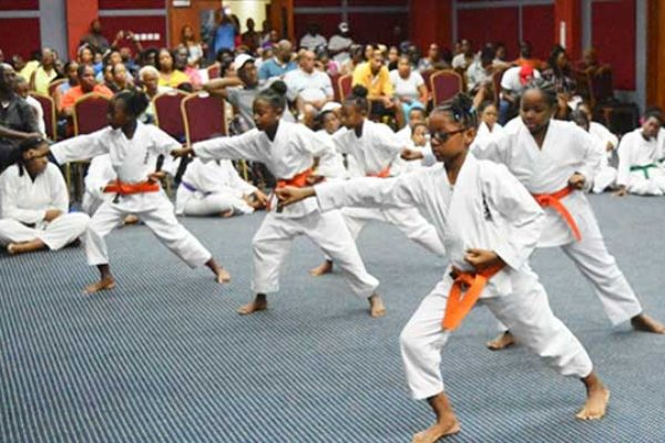 Image of orange belt girls in action