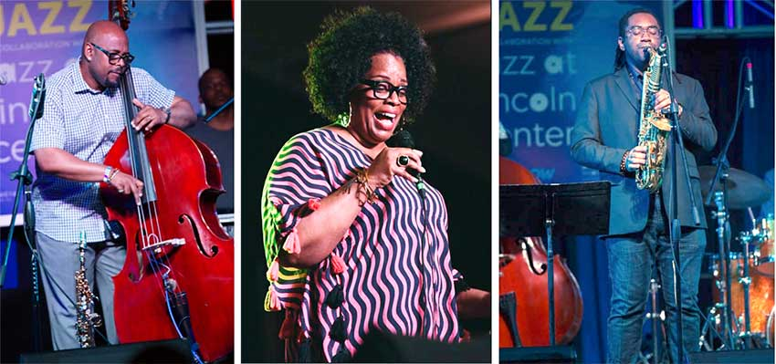 Image of Patrick Bartley performing at the IGY Marina. Dianne Reeves performing at The Ramp in Rodney Bay & Christian McBride, one of the performers who took the stage at the Gros Islet Park.