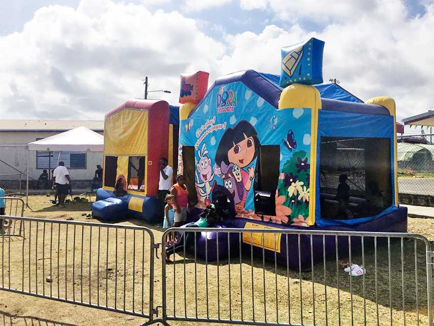 Image: The kids zone featuring bouncy castles and loads of fun!