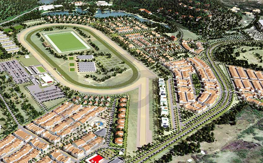 Image of a concept drawing of the Race Track, and Town Centre.