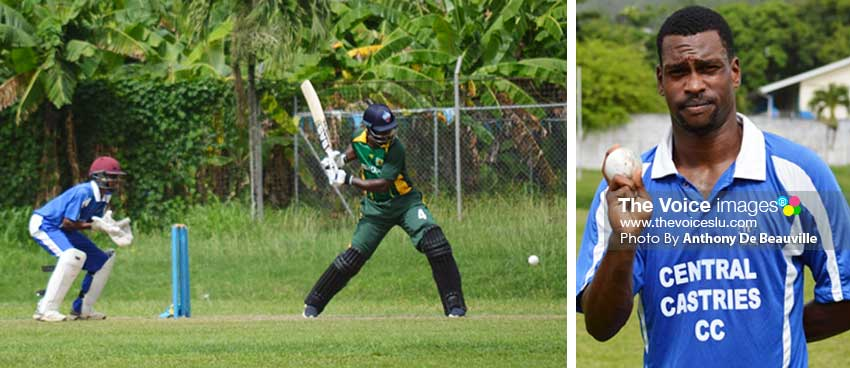 Image: (L-R) Daren Sammy on the rampage; Tyler Sookwa picked up 4 for 48 for Central Castries. (PHOTO: Anthony De Beauville)