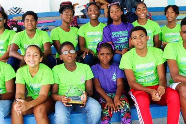 Image: The Lightning Aquatics Swim Club at the meet in Barbados. (PHOTO: LA)
