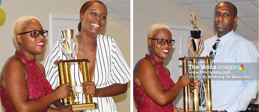 Image: (L-R) Manda Simon – SLVBI  Marketing Officer presenting Nyoka Sandy Nugent (Le Club) and Kendall Charlery (Jet Setters) with the BOSL Guy Brown National League championship trophy. (PHOTO: Anthony De Beauville)