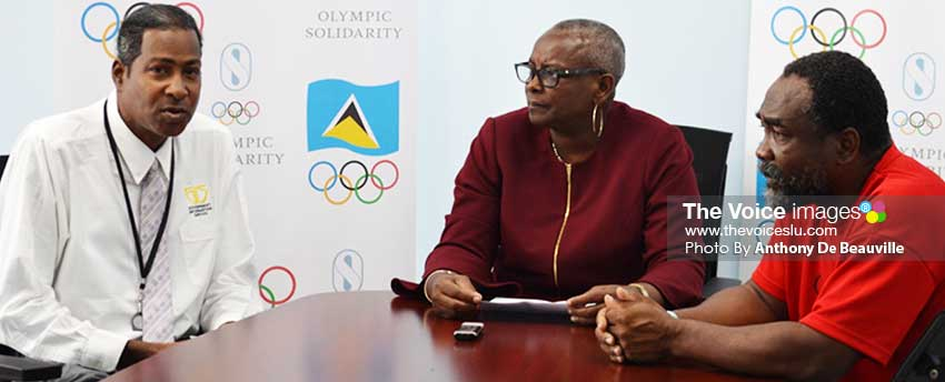 Image: (L-R) Planning ahead for Olympic Week 2019: Ryan O'Brian – SLOC Media Liaison Officer; Fortuna Belrose – SLOC President and Alfred Emmanuel – SLOC General Secretary. (PHOTO: Anthony De Beauville)