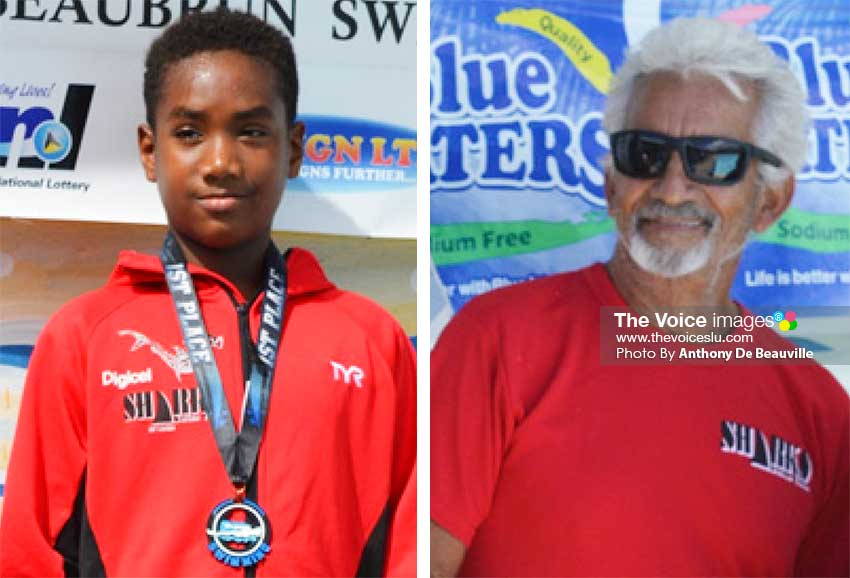 Image: Swimmer Antoine Destang; Coach David peterkin. (PHOTO: Anthony De Beauville)