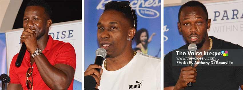 Image: (L-R) Three of the Caribbean's leading sportsmen, Daren Sammy, Dwayne Bravo and Usain Bolt addressing aspiring future sports stars at the Sandals Grande. (PHOTO: Anthony De Beauville)