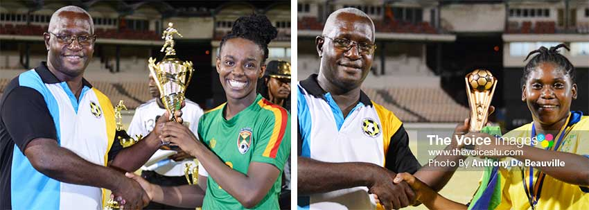 Image: (L-R) SLFA Vice President Southern Region, Emmanuel Bellase presenting the 3rd place prophy to the Grenada captain; and MVP and Best Goal Keeper of the Tournament to Atticia Benn of Saint Vincent and the Grenadines. (PHOTO: Anthony De Beauville)